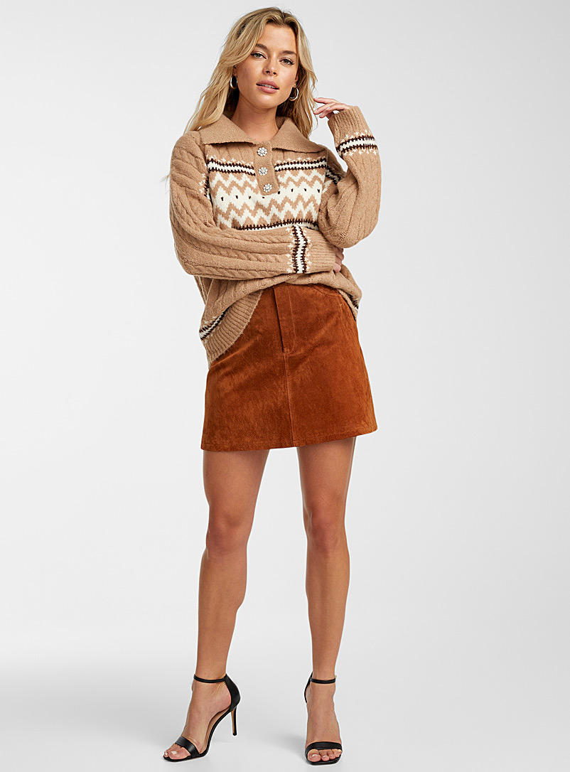Icône Honey Heritage jacquard polo sweater for women