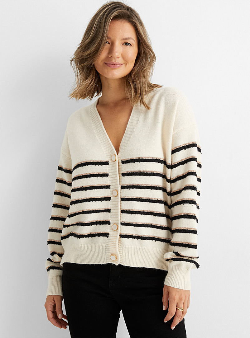 Contemporaine Ivory White Dazzling pattern knit cardigan for women