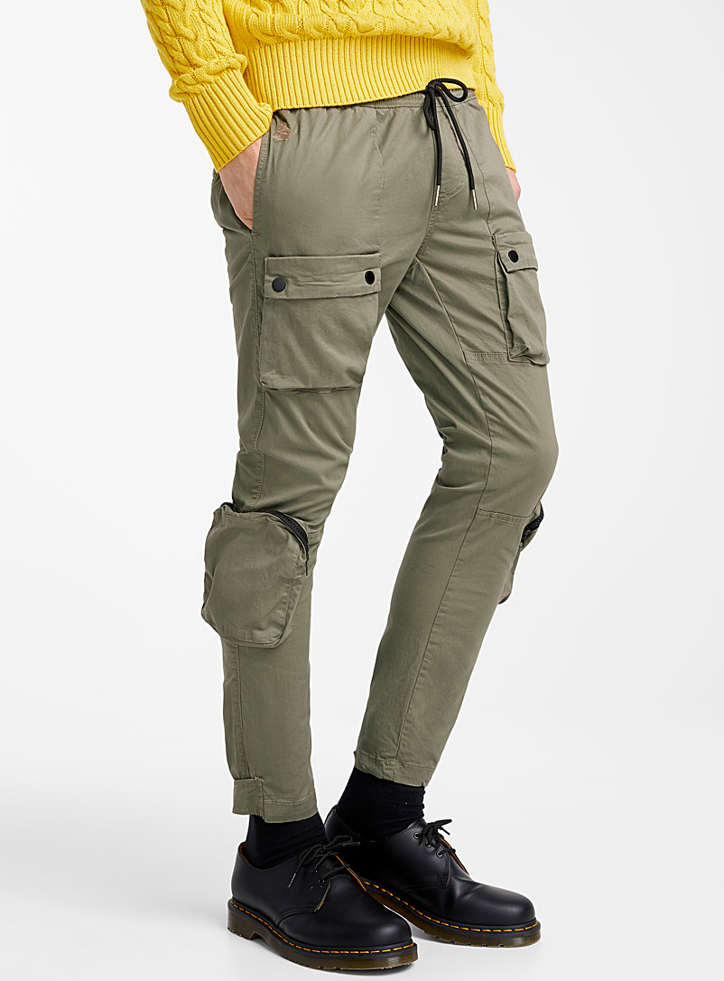 Le 31 Mossy Green Modern cargo joggers for men