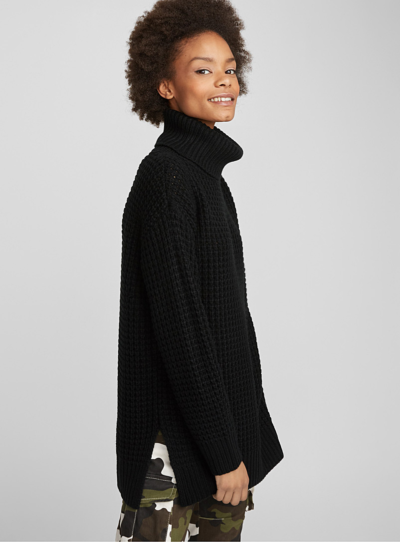 Waffle-knit turtleneck - Sweaters - Black