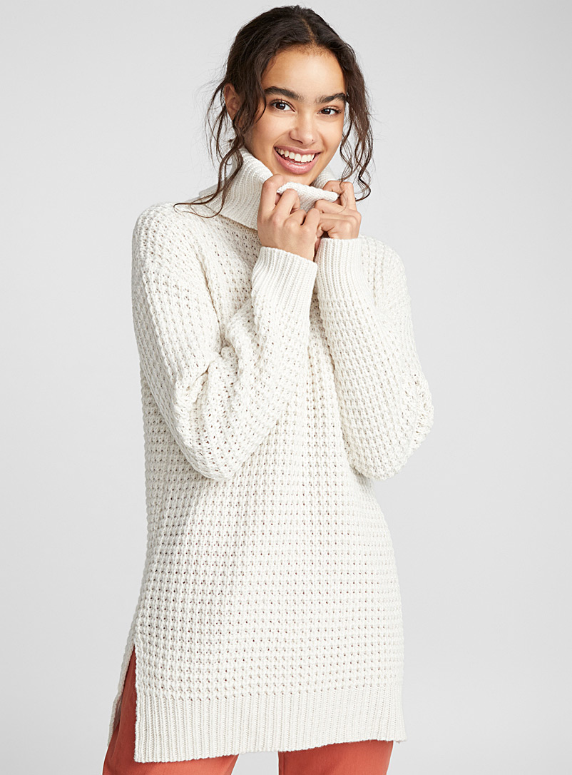 Waffle-knit turtleneck - Sweaters - Cream Beige