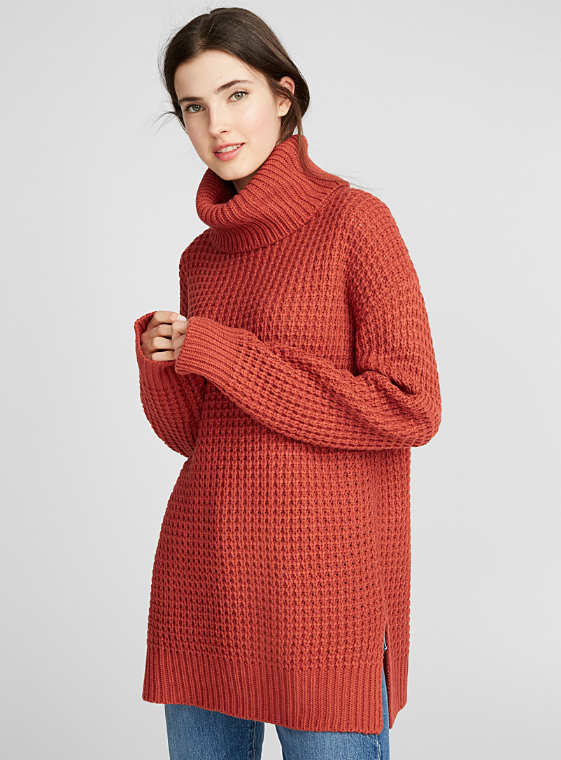 Waffle-knit turtleneck - Sweaters - Copper