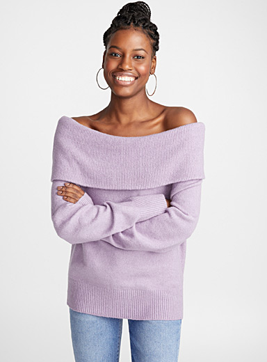 Le pull col Marylin tricot bouclé