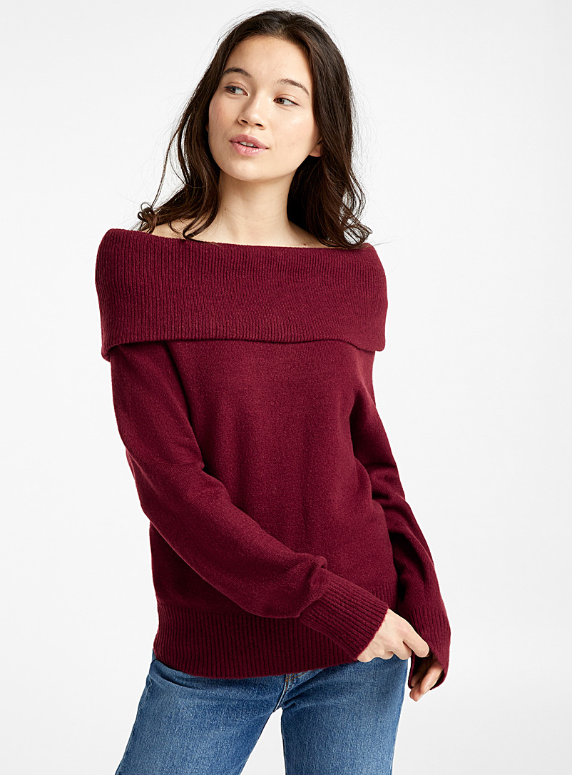 Bouclé knit Marylin collar sweater - Sweaters - Ruby Red