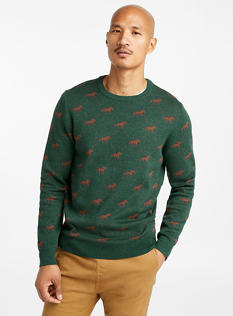 Repeat pattern sweater - Cotton - Mossy Green