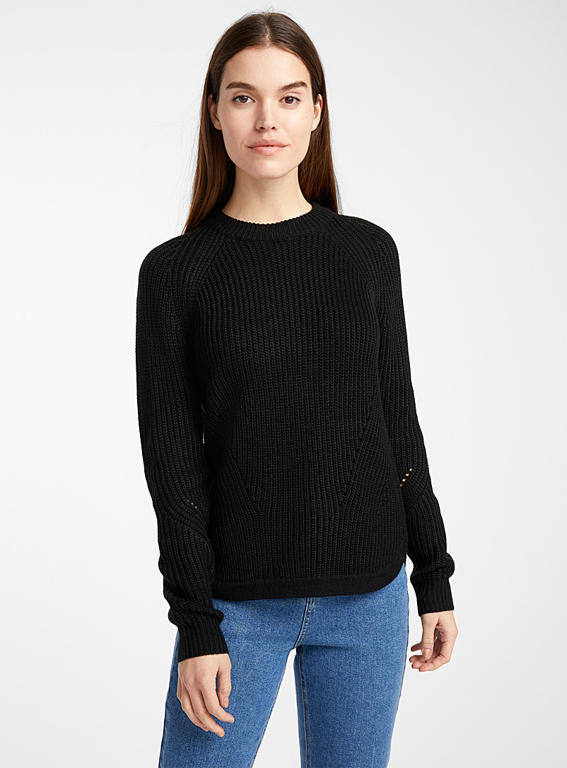 Asymmetric ribbed sweater - Sweaters - Black