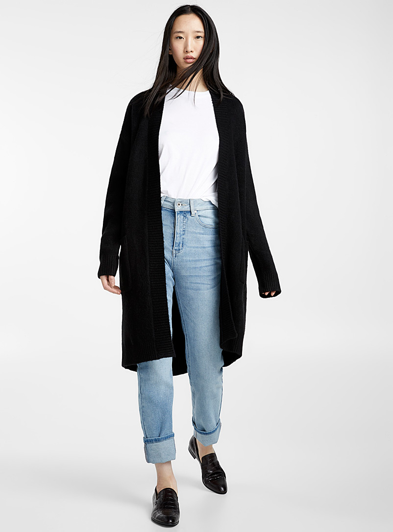 Long bouclé knit cardigan - Sweaters - Black