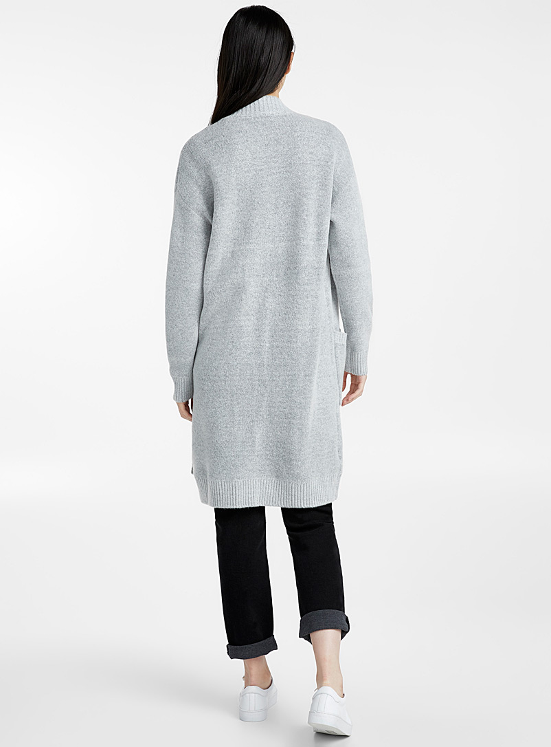 Long bouclé knit cardigan - Sweaters - Light Grey