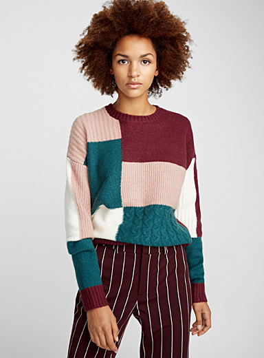 Patchwork bouclé sweater