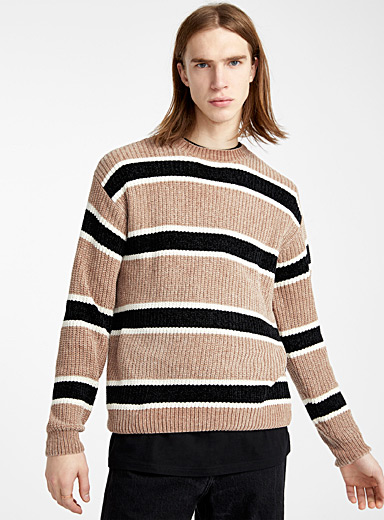 Djab Sand Striped chenille knit sweater for men