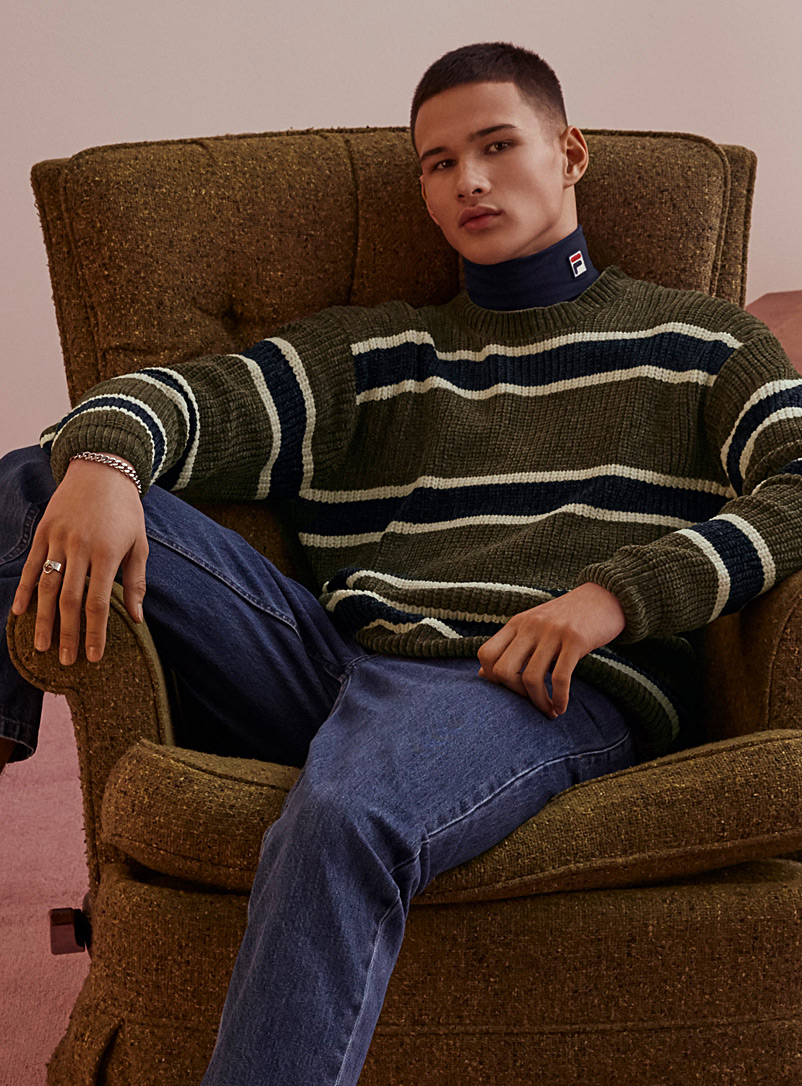 Djab Bottle Green Striped chenille knit sweater for men