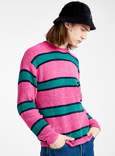 Djab Pink Striped chenille knit sweater for men