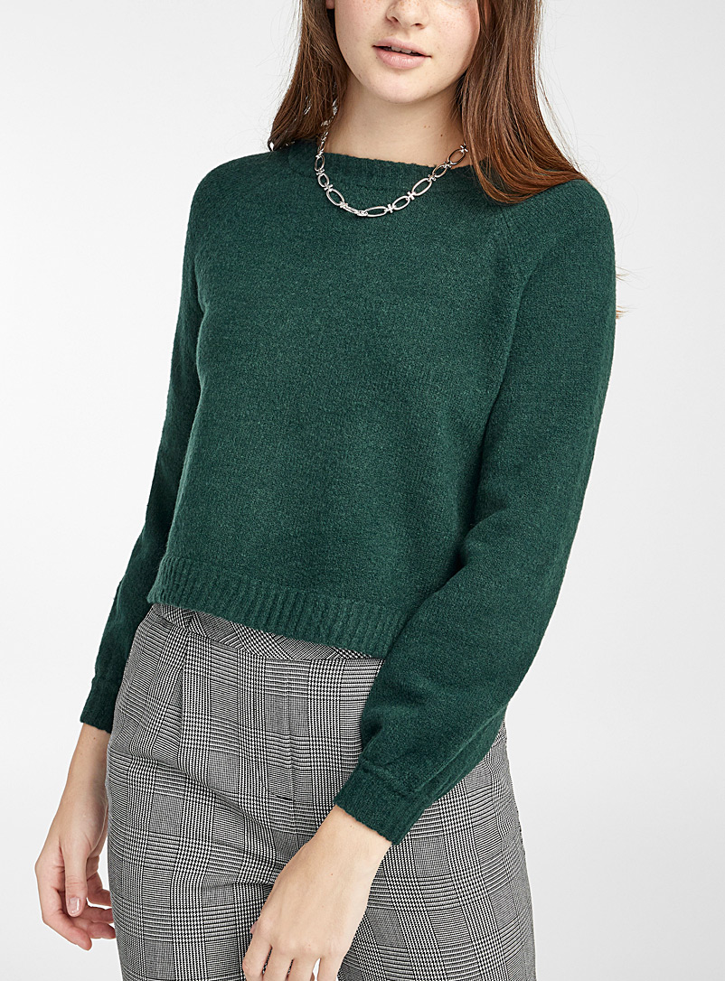 Twik Green Puff-sleeve cropped sweater for women
