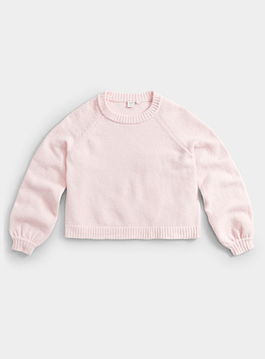 Twik Dusky Pink Puff-sleeve cropped sweater for women
