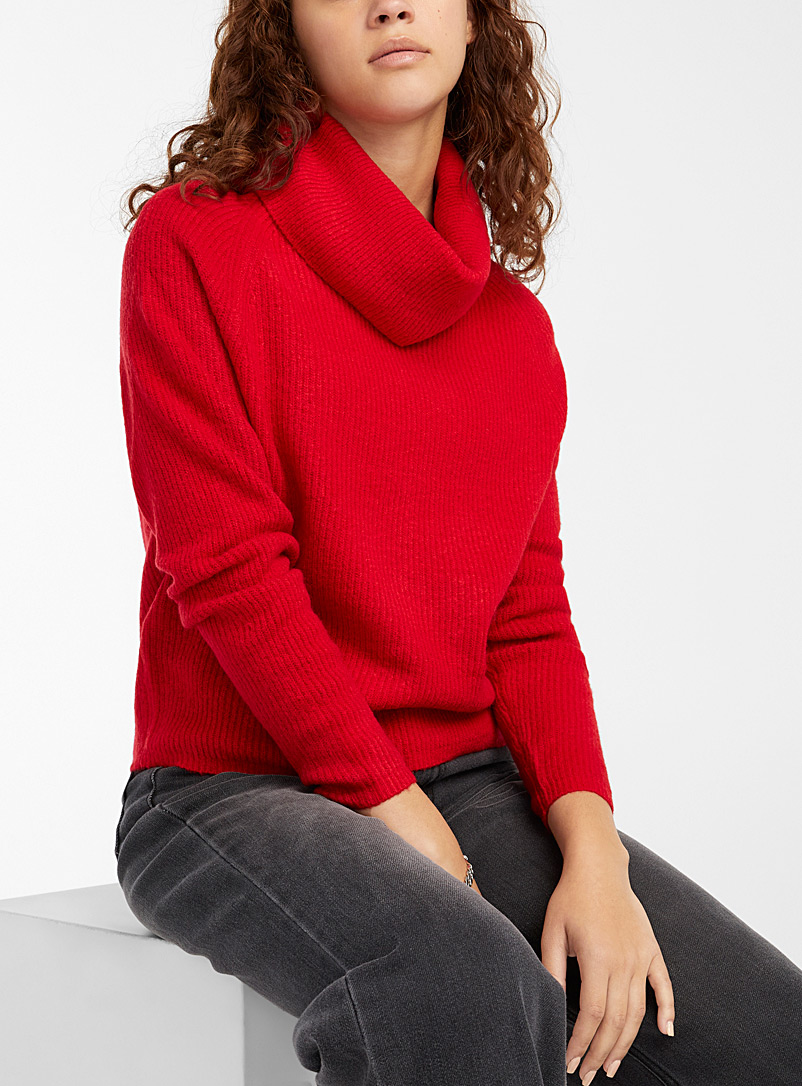 Twik Assorted Soft ribbed cropped cowl neck for women