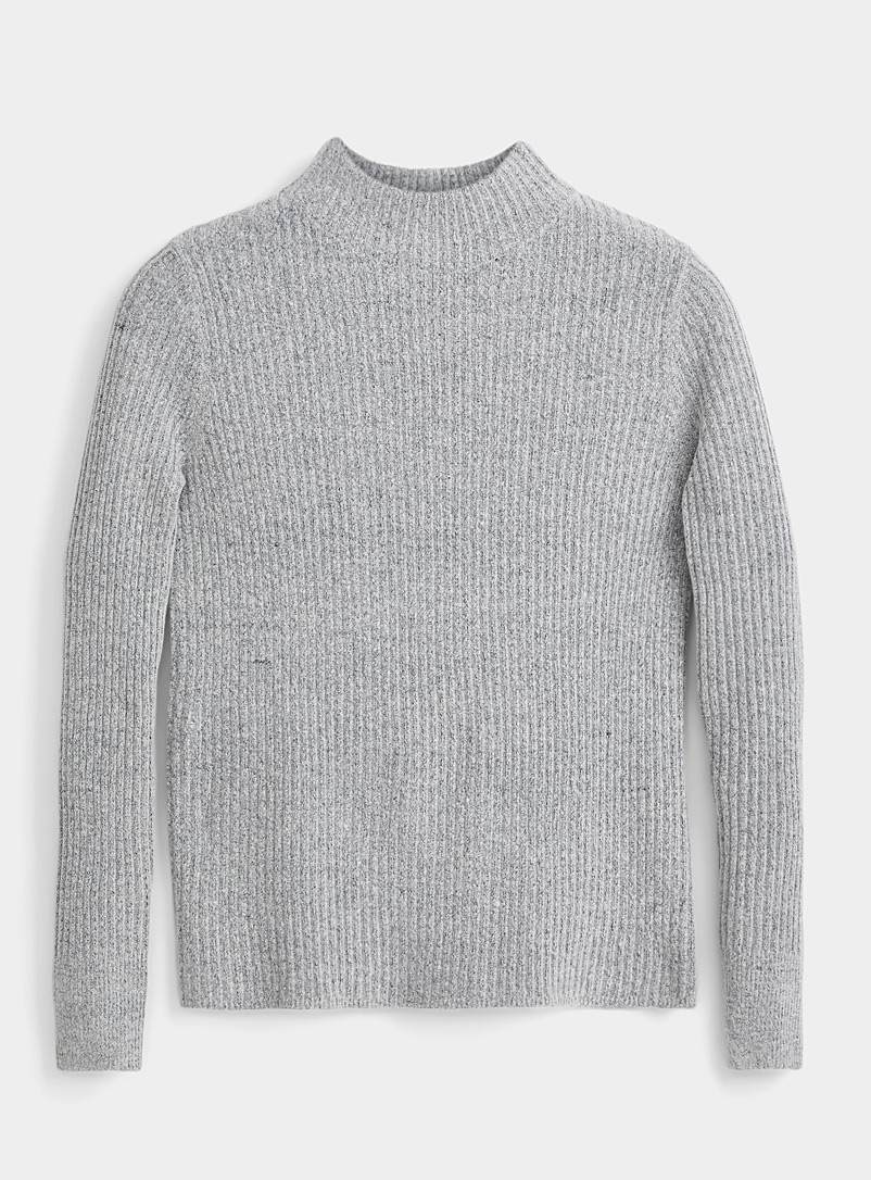 Icône Light Grey Ribbed mock-neck sweater for women