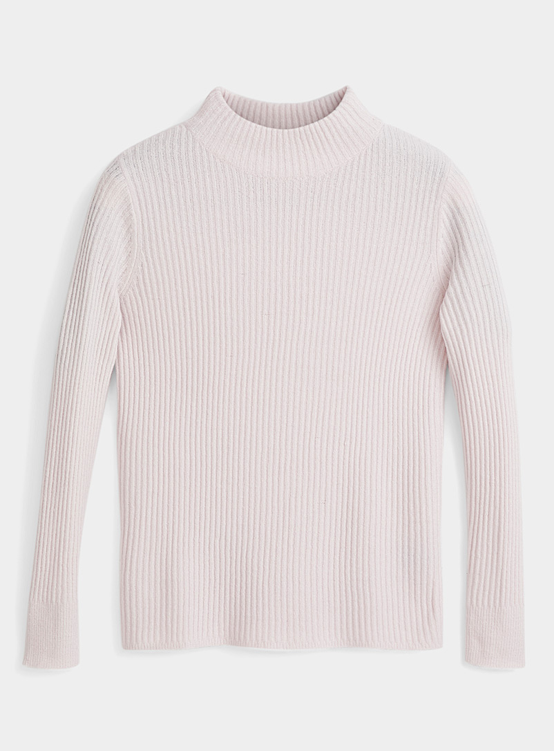 Icône Pink Ribbed mock-neck sweater for women