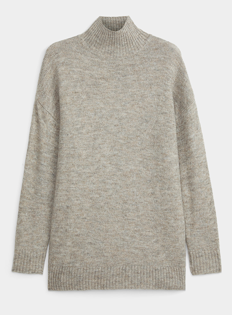Icône Sand Mock-neck oversized sweater for women