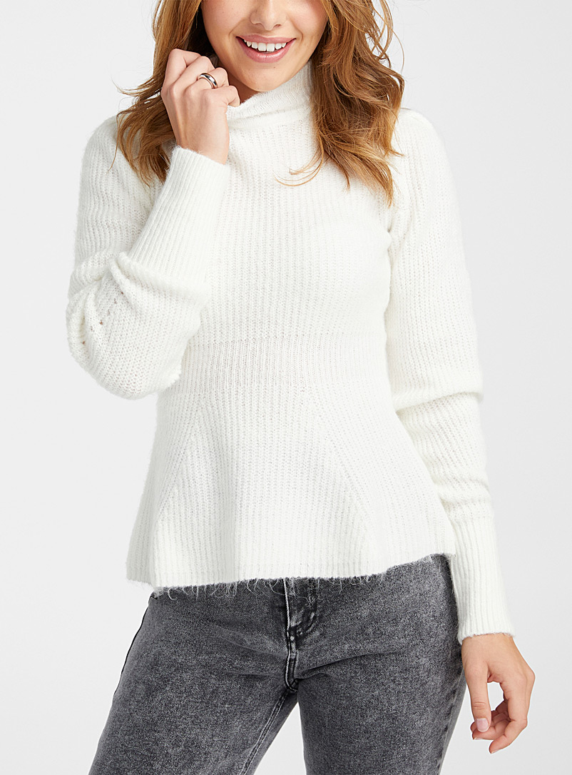 Icône Ivory White Peplum waist mock-neck sweater for women