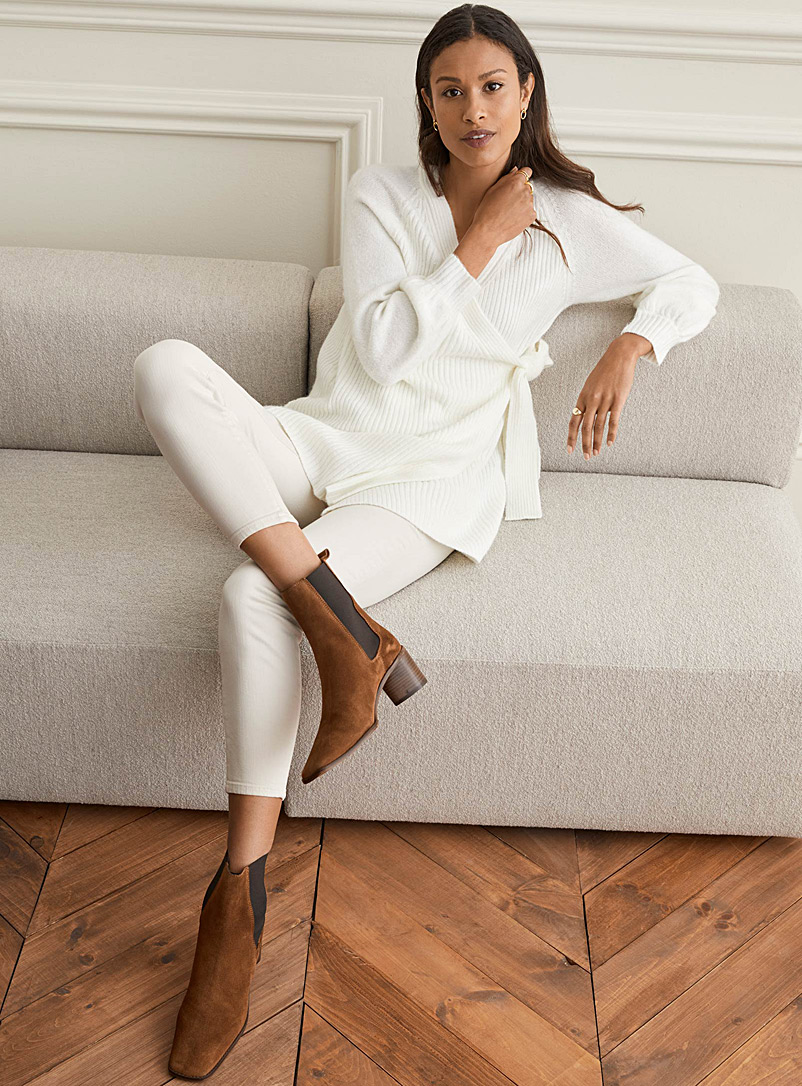 Contemporaine Ivory White Puff-sleeve crossover cardigan for women