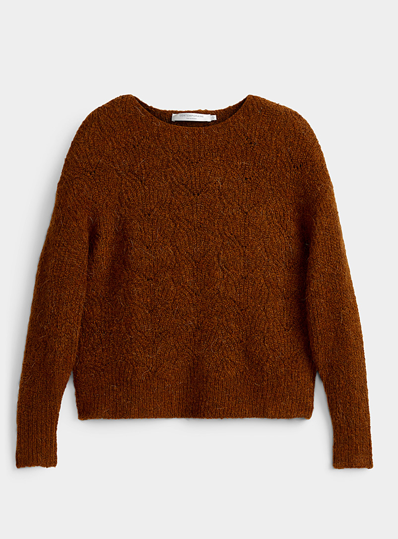Openwork boat-neck sweater
