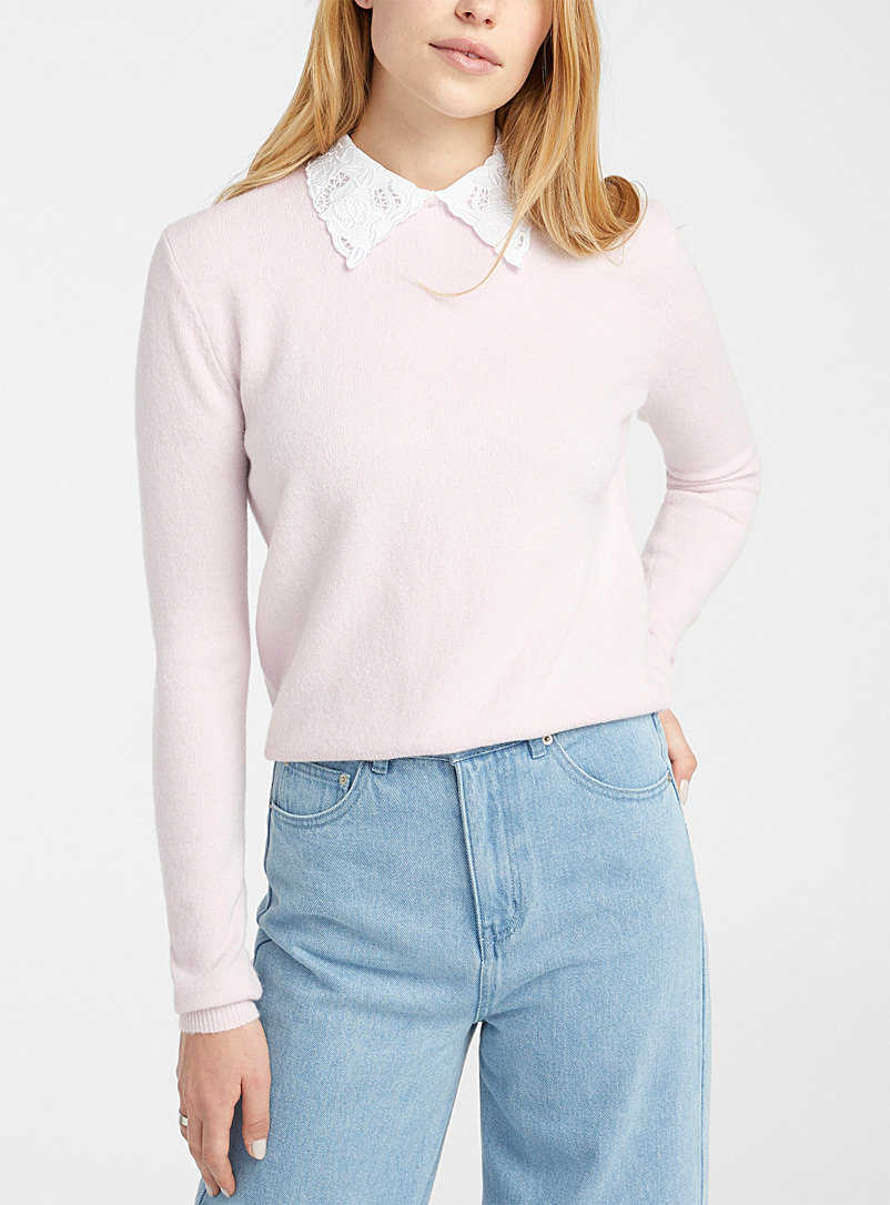 Twik Peach Removable lace-collar sweater for women