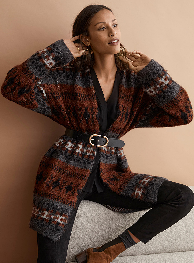 Contemporaine Charcoal Heritage jacquard cardigan for women
