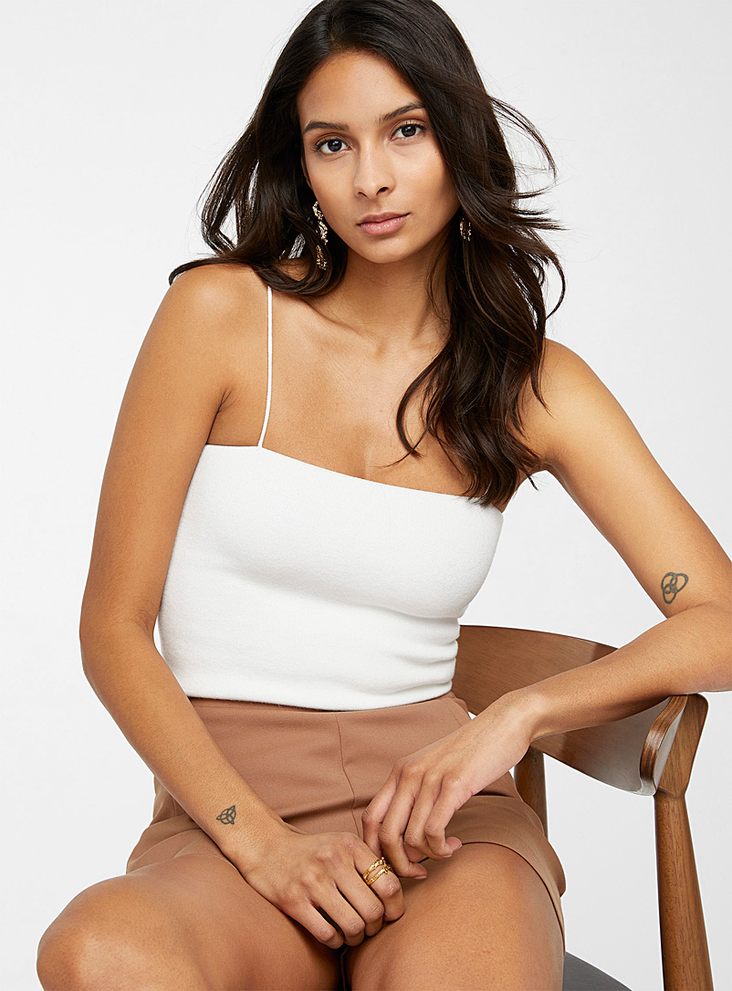 Brushed knit tube top