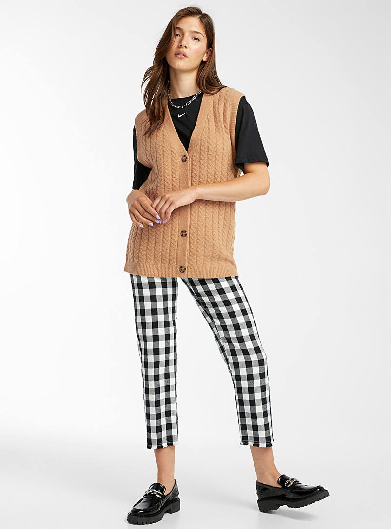 Twik Black Cable knit buttoned tank for women