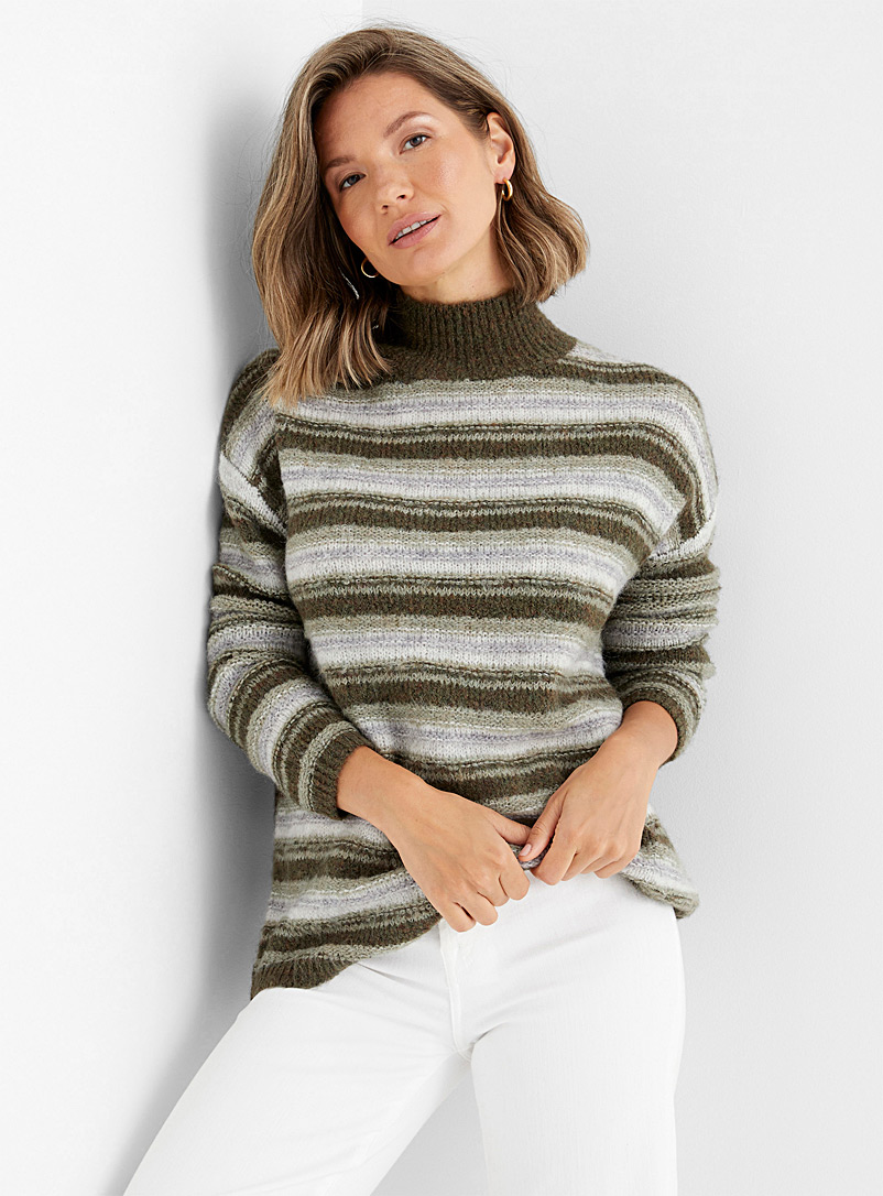 Contemporaine Mossy Green Touch of alpaca striped funnel-neck sweater for women