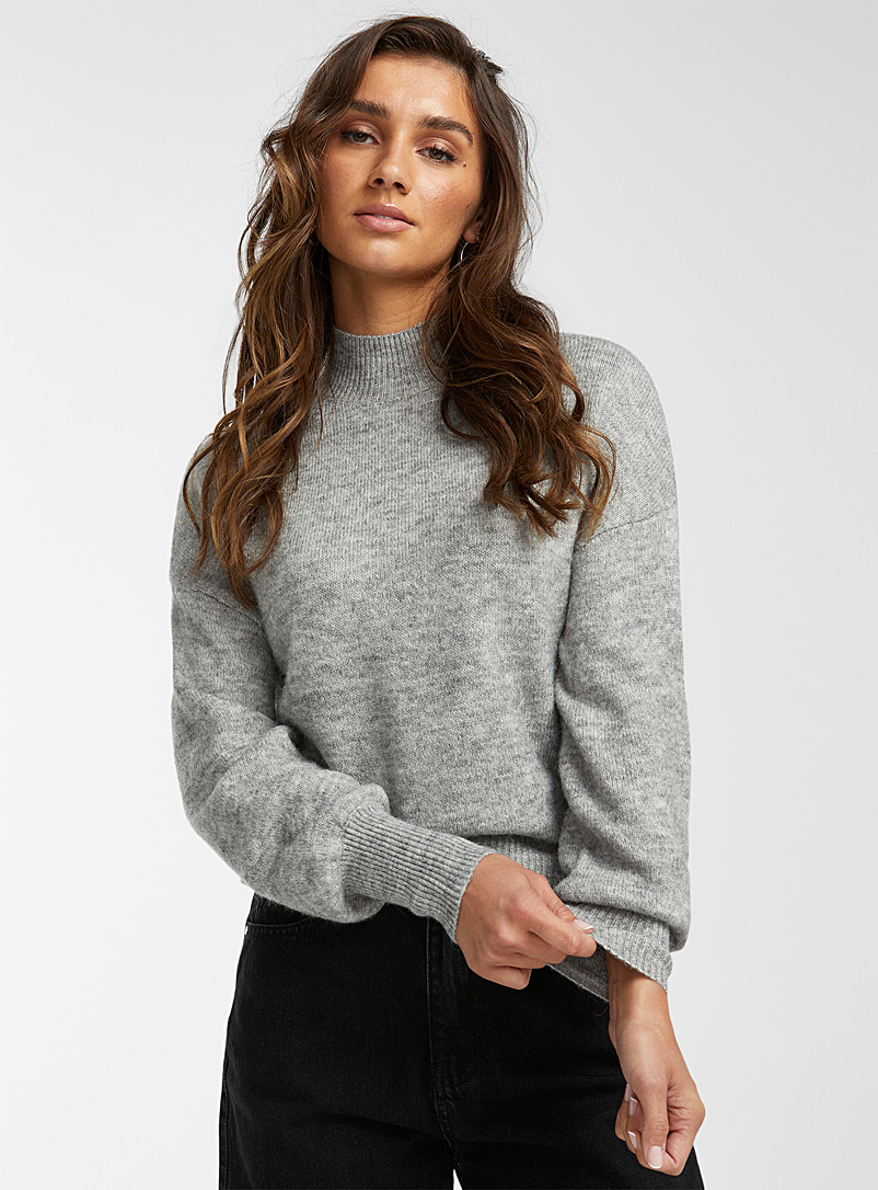Icône Peach Touch of wool heathered mock neck for women