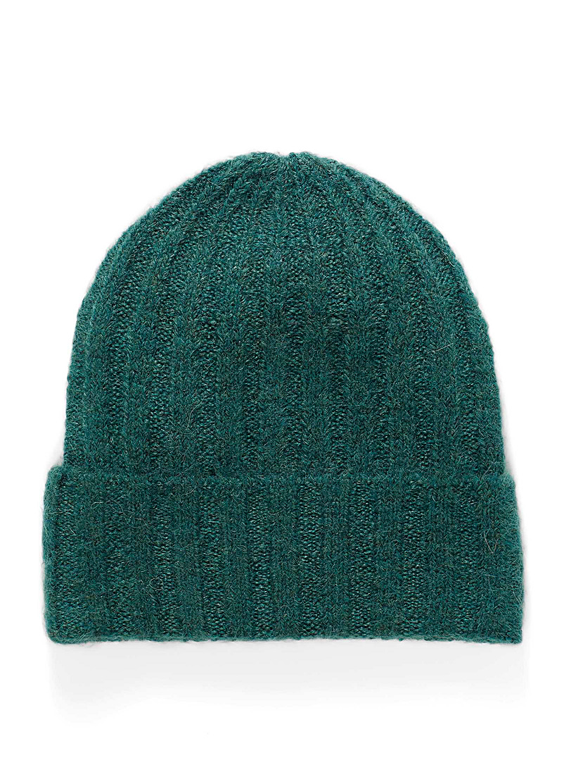 Simons Teal Fine wide-ribbed tuque for women
