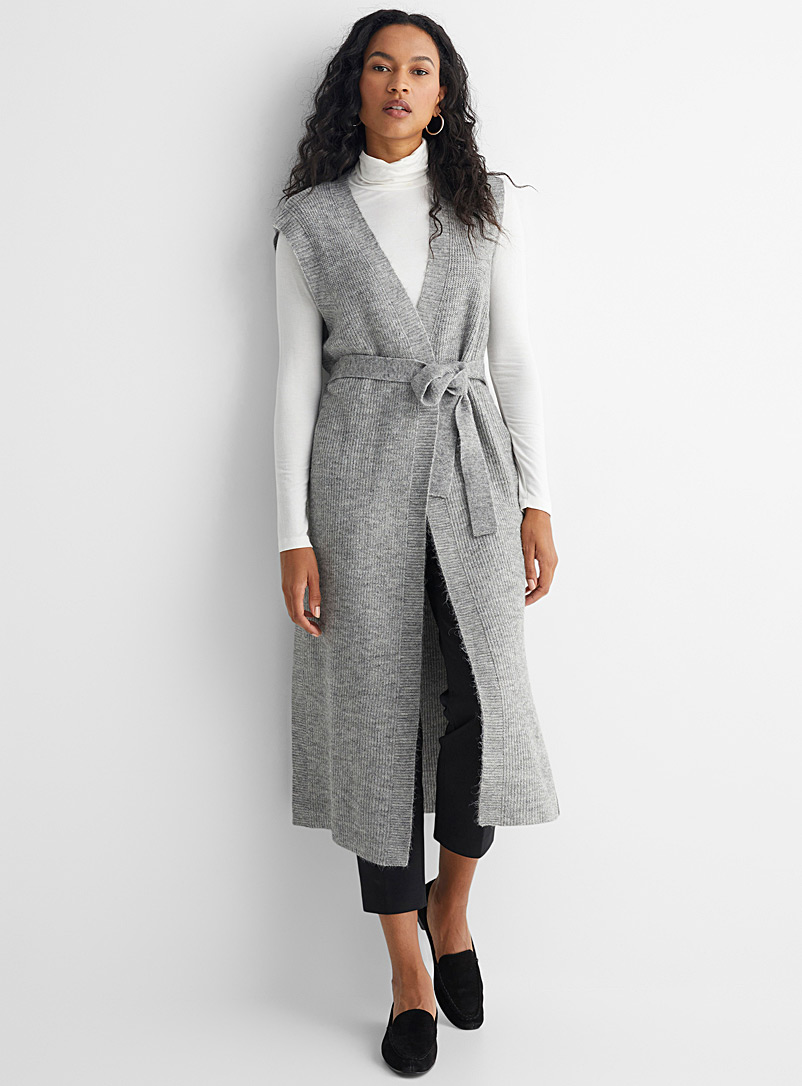 Contemporaine Grey Maxi knotted belt cardigan for women