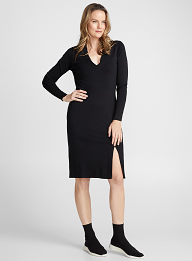 Shiny knit fitted dress