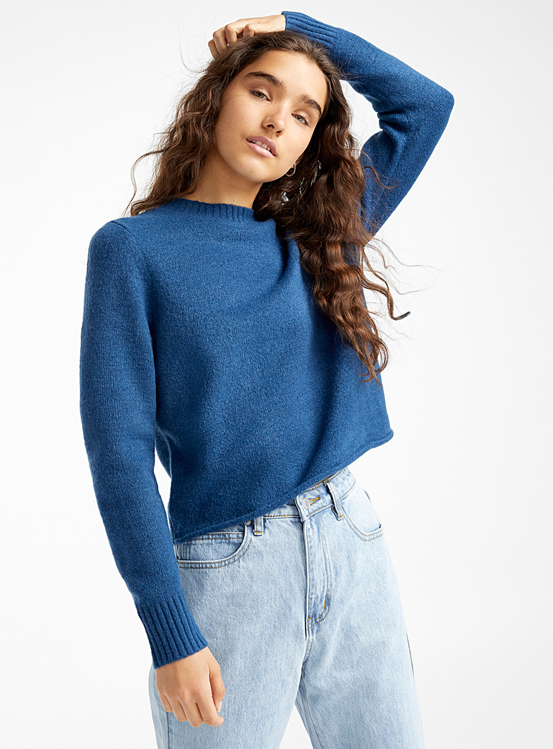 Cropped cozy high neck - Sweaters - Blue