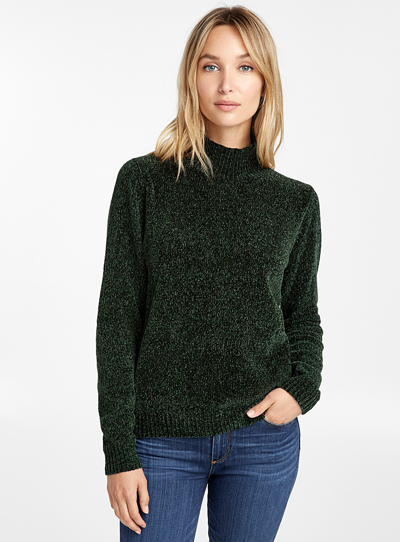 Mock-neck chenille sweater - Sweaters - Mossy Green