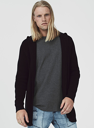 Waffled open-front cardigan