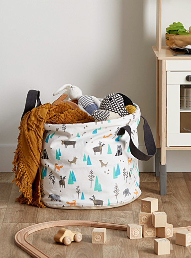 Simons Maison Patterned Ecru A walk in the woods canvas basket