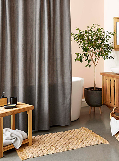 Charcoal chambray recycled polyester shower curtain