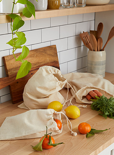 Natural cotton reusable produce bags Set of 3