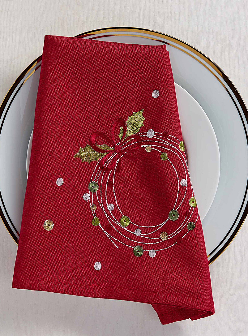 Confetti wreaths embroidered napkin - Matching - Patterned Red