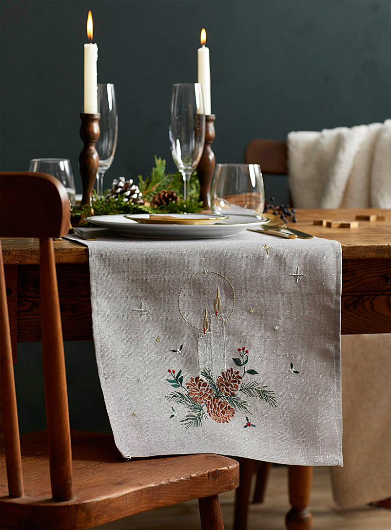 Christmas Eve glow embroidered table runner  3 sizes available