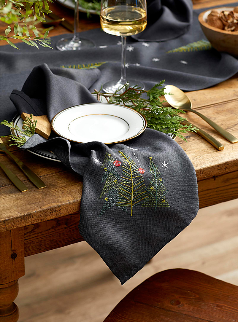 Simons Maison Patterned Grey Geo fir tree embroidered napkin