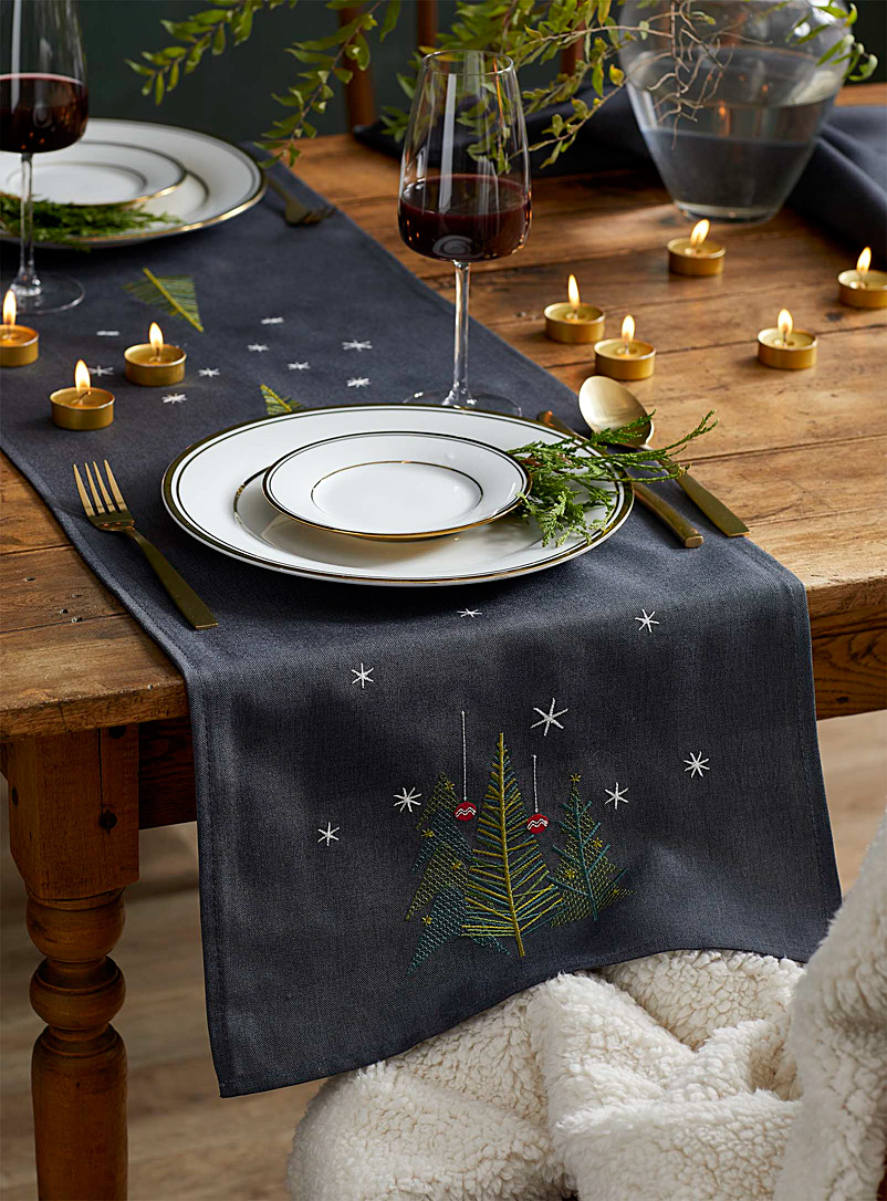 Simons Maison Patterned Grey Embroidered geo Christmas tree table runner  Available in 3 sizes