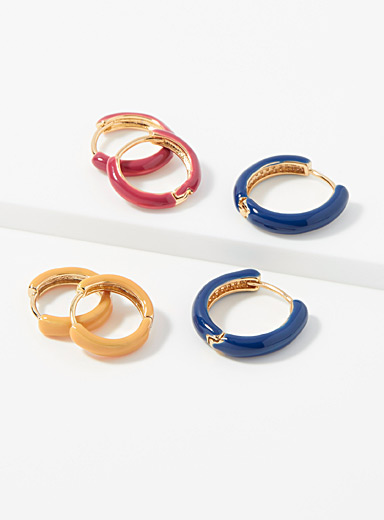 Multi-coloured hoops  Set of 3 pairs