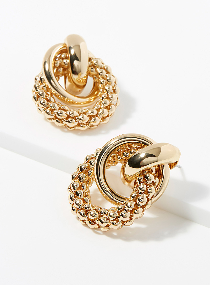 Textured hoop earrings - Earrings - Gold