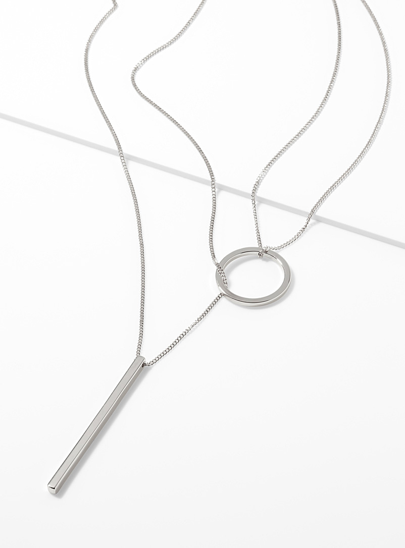 Simons Silver Geo pendants necklace for women