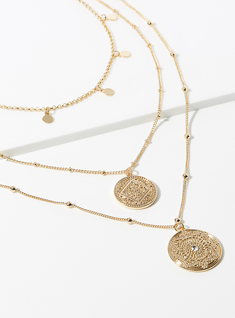 Simons Gold Three-row medallion necklace for women