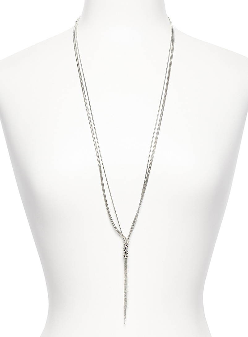 Simons Charcoal Spiral lasso necklace for women
