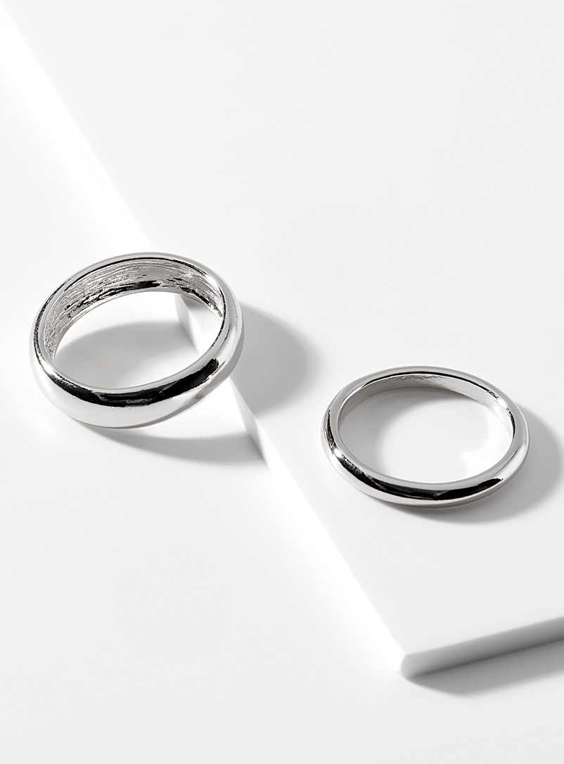 Simons Silver Uneven rings Set of 2 for women